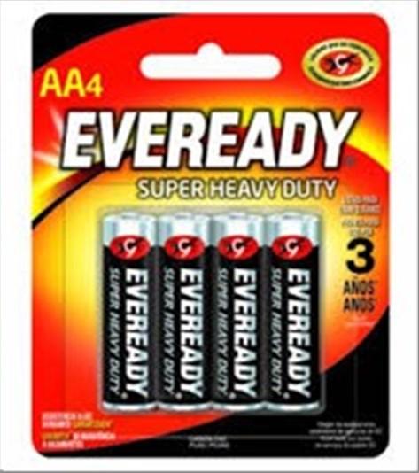 PILHA EVEREADY SUPER HEAVY DUTY AA C/4
